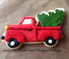 Red truck cookie~                    By Bimpys bakery, Christmas Tree, green
