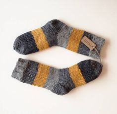 Just My Style by Andrea Elliott on Etsy Knitted Slippers, Wool Socks, Slipper Socks, Diy Knitting Socks, Best Baby Socks, Sock Toys, Cute Socks, Knitting Projects, Knit Crochet