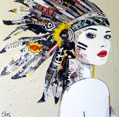 Paper- art = kunst gemaakt van de combinatie van papier uit tijdschriften, kranten, folders en acrylverf Het leuke aan Paper Art is dat woorden en vormen naadloos in elkaar overvloeien, elkaar versterken of tot denken aanzetten.  www.jorienstel.nl