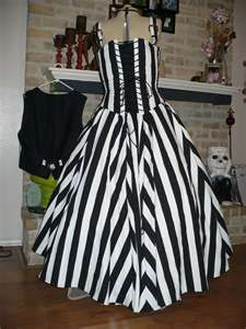 black and white striped wedding dress