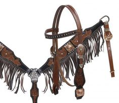 Showman Leather Headstall and Breastcollar Set with Leather Fringe! HORSE TACK! in Sporting Goods, Outdoor Sports, Equestrian | eBay