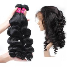 One More Brazilian Virgin Human Hair Loose Curls Wave Hair 3 or 4 Bundles With 360 lace Frontal,Brazilian Virgin Weft Loose Curls Wave Virgin Remy Hair Extensions #brazilianhair #360lacefrontal