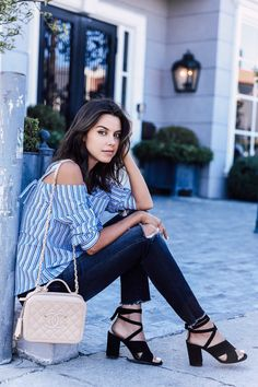 Block heels + off the shoulder striped top + dark wash jeans