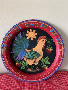 Rooster Plate by Georgannself on Etsy Painted Plates, Painted Books, Tole Painting Patterns, Wood Patterns, Henna Patterns, Rosemary West, Rooster Plates, Face Painting Tutorials, Blue Tulips