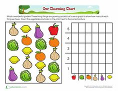 Free printable worksheets: Counting: Vegetable Garden! Kindergarten Math: Data collection and Graphs.