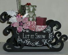 Jennifer's Crafting Rainbows : Let It Snow MDF Santa Sleigh, a' Sneaky Peek. Mdf Christmas Decorations, Christmas Paper, Red Christmas, Let It Snow, Let It Be, Tree Stencil, Santa Sleigh, Holly Leaf, Create And Craft