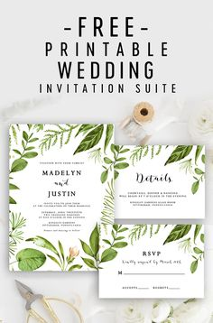 Free Editable Wedding Invitation Suite - Invite, RSVP and Details Card - Greenery Green Leave. Free Editable Wedding Invitation Suite – Invite, RSVP and Details Card – Greenery Green Leaves Free Printable Wedding Invitations, Wedding Invitation Kits, Vintage Wedding Invitations, Diy Invitations, Invitation Suite, Invitation Design, Wedding Stationery, Invitation Wording, Potluck Invitation