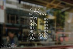 FREE SHIPPING Customized Business Hours Window Decal by DecalChic