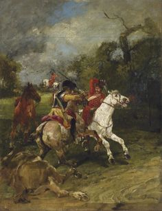 Combat between a Prussian cuirassier and a Russian hussar