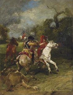 Combat between a Prussian cuirassier and a Russian hussar
