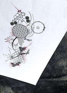 Abstract science fibonacci 3d tattoo