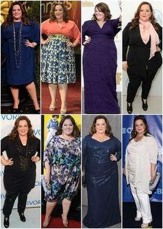 Melissa McCarthy: I am so glad she has more than gilmore girls now. She was the reason I watched that show, because the main characters just plain got on my nerves. Melissa was the only character that brought funny. Look Plus Size, Curvy Plus Size, Plus Size Girls, Plus Size Women, Apple Shape Outfits, Apple Shape Fashion, Curvy Fashion, Plus Size Fashion, Girl Fashion