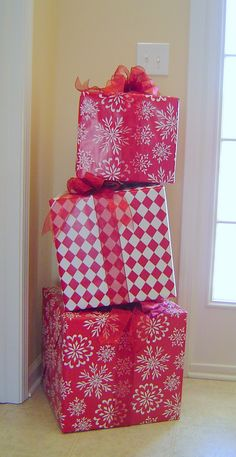 I saw a similar idea here and knew I just had to find a way to make this my own! And I had the perfect spot in my front entry for these! They are so easy to make:  Just wrap large square boxes in gift wrap.  (I bought my boxes from WalMart.  I got all... Read More »