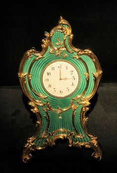 Faberge GUILLOCHE ENAMEL desk clock
