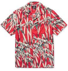 Camp-Collar Bamboo-Print Satin Shirt   MR PORTER