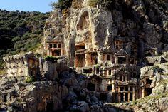 Rock tombs in Myra, Lycia, Turkey