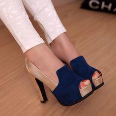 #Pisadasqueinspiran ❤ Cheap nuevo 2014 mujeres bombas mujeres sandalias zapatos sandalias de moda princesa allmatch tacón ancho ultra negro sexy tacones altos zapatos de punta abierta, Compro Calidad Bombas directamente de los surtidores de China: