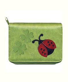 Ladybug & clover vegan leather zipper around #cardholder $22.99