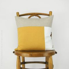 Color Block Pillow in Mustard, White and Natural  |  Ecofriendly Pillow -  16x16 Decorative Pillow Cover - Modern and  Minimalist Home Decor