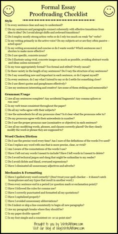 Basic Essay Proofreading Checklist