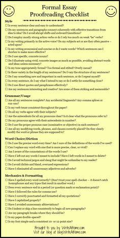 Basic Essay Proofreading Checklist