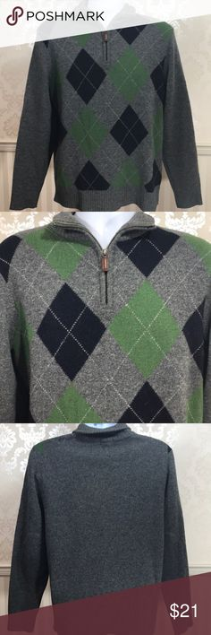 Men's J. Crew Fine Lambswool Argyle Zip Sweater Men's J. Crew fine lambswool grey Harriman argyle sweater in excellent condition. So soft and cozy for chilly winter days. Half zip at neck with leather pull. 100% lambswool. Size M. Measurements provided upon request. J. Crew Sweaters Zip Up