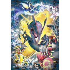Pokemon 2015 Shiny Mega Rayquaza Primal Groudon Kyogre & Friends Large Bromide XY Movie Series #4 Chewing Gum Prism Holofoil Promo Card Pokemon Trading Card, Pokemon Cards, Trading Cards, Mega Rayquaza, Cool Pokemon, Pokemon Pictures, Geek Stuff, Japan, Adventure