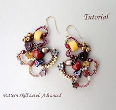 Beaded earrings tutorial seed bead jewelry di PeyoteBeadArt