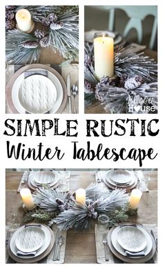 Simple Rustic Winter Tablescape | blesserhouse.com Ideas for setting your table all winter long, past the holidays. #winter #tabledecor
