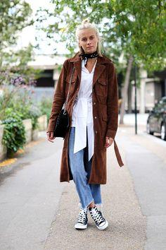 Sophie Cooper wears H&M earrings, Zara scarf, Finery shirt, Converse, Topshop jeans // London Fashion Week SS17 Street Style: Day 3