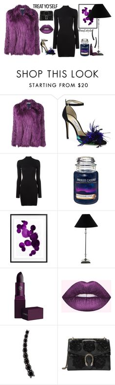 """treat yo'self"" by saraft on Polyvore featuring Balenciaga, Jimmy Choo, adidas Originals, Yankee Candle, Lene Bjerre, Lipstick Queen, Lime Crime, Alinka, Gucci and fauxfurcoats"