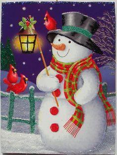 Snowman Cardinals Lantern Birds Glittered Christmas Ornament Vtg Greeting Card | eBay