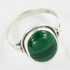 Malachite Ring Silver Ring925 Sterling Silver by DevmuktiJewels