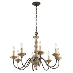 Shop Kichler Lighting Briellis 8-Light Vintage Weathered White Chandelier at Lowes.com $583