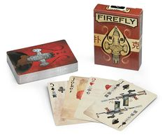 This full-size standard poker deck is Firefly-themed. Designed by Ben Mund, the front of the 56 cards look distressed, as if they've been around a bit, much like the ship herself.