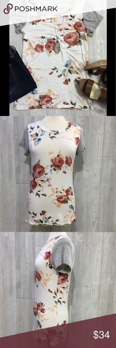 "Floral Print Top Floral Print Short Sleeve Top, Ivory w/ Heather Grey Sleeves, Rayon/ Spandex Blend, Super Soft Material, Armpit to Armpit Measures 17"" Across (material has some stretch to it), Length 25"" rev320 Tops Tees - Short Sleeve"