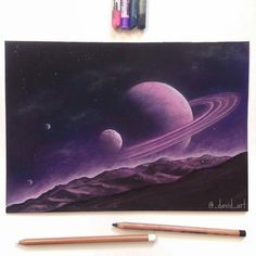 """Repost from @david_art  """" Saturn Rise """"  Let me know what you think!  I did a time lapse video of this check it out if you haven't seen it yet! Thank you for all your support and nice comments!  _______________ Prints available (link in Bio) What was used: Toison D'Or soft pastels and Faber-Castell pitt pastel pencils on canson pastel paper   FOLLOW @zbynekkysela & TAG your artworks #DRKYSELA to be FEATURED!  HOT TIPS CLICK link in my profile   via http://instagram.com/zbynekkysela"""