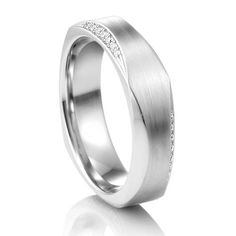 COGE Faceted Palladium Ring with Diamonds at Titanium-Jewelry.com