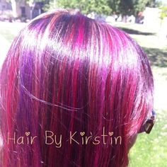 Hair color with reds, purples and blonde!