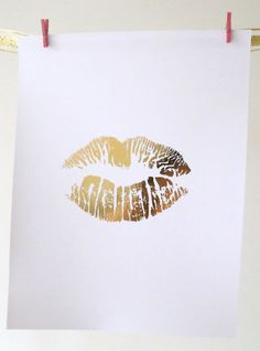 Real Gold Foil Print  Gold Lips Art  8X10 Wall Art  by MoonOrchids