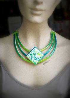Collier multi-rangs vert et turquoise