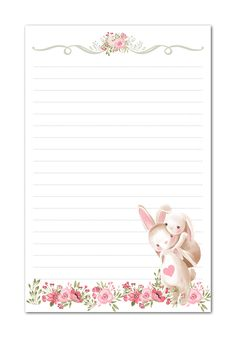 Free Printable Stationery, Printable Lined Paper, Stationery Printing, Stationery Paper, Pink Floral Background, Paper Background, Easter Bunny Colouring, Cute Notebooks, Bunny Rabbits