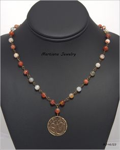 "1.5"" Flower Pendant, 26"" Agate Gemstone Necklace - 6mm Round Orange/Red Agate Gemstones, Natural Brass Wild Flower Embossed Pendant  #martianajewelry amazon.com/handmade/MartianaJewelry,  Martiana.jewelry.com"