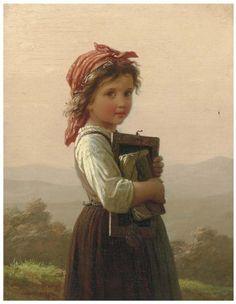 Gorgeous Painting of Little Schoolgirl by Johann Georg Meyer von Bremen, famous German artist