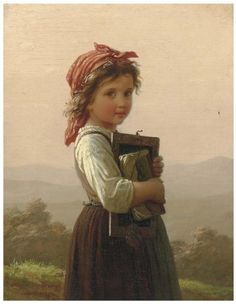 Gorgeous Painting of Little Schoolgirl by Johann Georg Meyer von Bremen, famous German artist