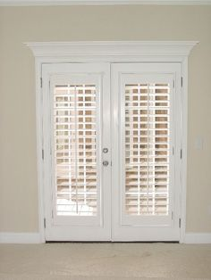 Plantation Shutters On French Doors - Interior french doors add a stunning style and elegance to any room in your home. Blinds For French Doors, French Doors Bedroom, French Door Curtains, French Doors Patio, Bedroom Doors, Curtains With Blinds, Patio Doors, Windows And Doors, French Patio