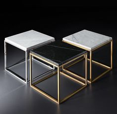 RH Modern's Nicholas Marble Side Table:Pairing marble's luminous warmth with metal's cool luster, this table designed by the Van Thiels is a study in complementary contrasts. Modeled after a 1960s French original, it is a striking surface for display.