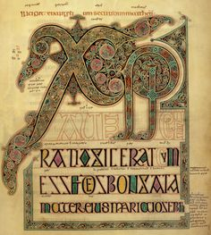 Here's another example of a Chi-Rho page, to the right. This one is from the Book of Lindisfarne, produced in England sometime between 680 and 720. The Book of Lindisfarne is in the British library now. It's the beginning of the same verse in Matthew as the Kells Chi-Rho page. You can still see the Chi and the Rho, very clearly.