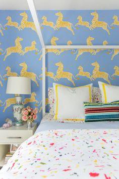 Scalamandre zebra wallpaper - cornflower and yellow bedroom - four poster canopy bed - kids bedroom
