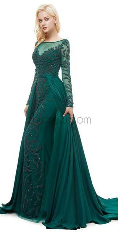 Green Round Neck Long Sleeves A-line Glitter Gorgeous Prom Dresses With Beads, Evening Dresses Evening Gowns With Sleeves, Prom Dresses Long With Sleeves, Ball Dresses, Ball Gowns, Evening Dresses, Gorgeous Prom Dresses, Nice Dresses, Green Chiffon Dress, Green Formal Dresses